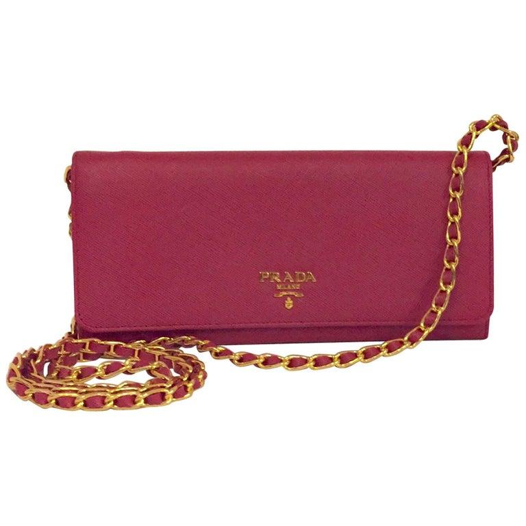 3c06ac119fba Prada Fuchsia Saffiano Chain Crossbody Wallet at 1stdibs