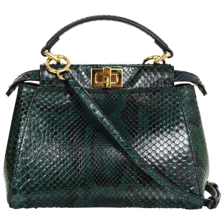 c267a885db93 Fendi Green Python Mini Peek-a-Boo Crossbody Bag rt.  5