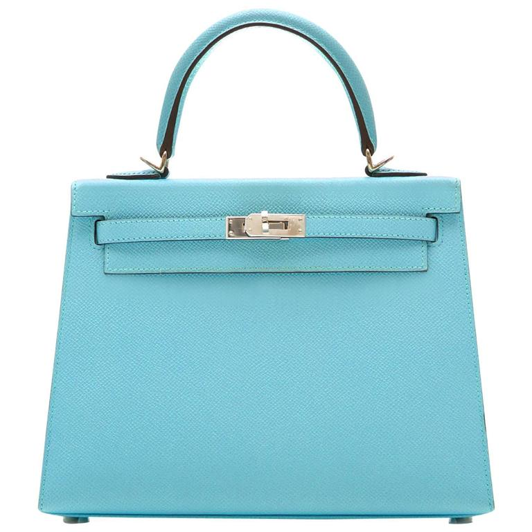 Hermes 25 Kelly Blue Atoll Brand New For Sale