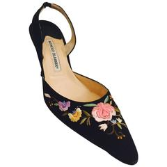 Manolo Blahnik Embroidered Black Silk Evening Slingback High Heels