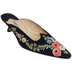 Manolo Blahnik Floral Embroidered Black Suede Mule