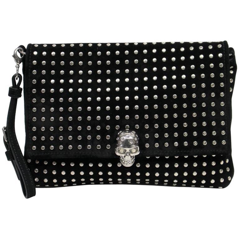 Alexander McQueen Black Suede Clutch Cross Body Bag 1