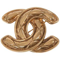 Numbered Chanel Quilted Double CC Brooch