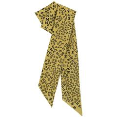 "HERMES ""Twilly"" Chartreuse Scattered Signature Print Silk Skinny Scarf Neck Tie"