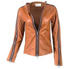 Maison Martin Margiela Butterscotch Leather Zip Jacket