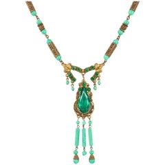 ART DECO c.1920's Ornamental Brass Jade Czech Peking Glass Pendant Necklace