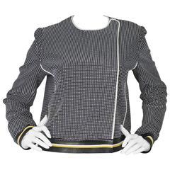 Fendi Navy Black & White Knit Jacket w/ Leather Trim sz IT42