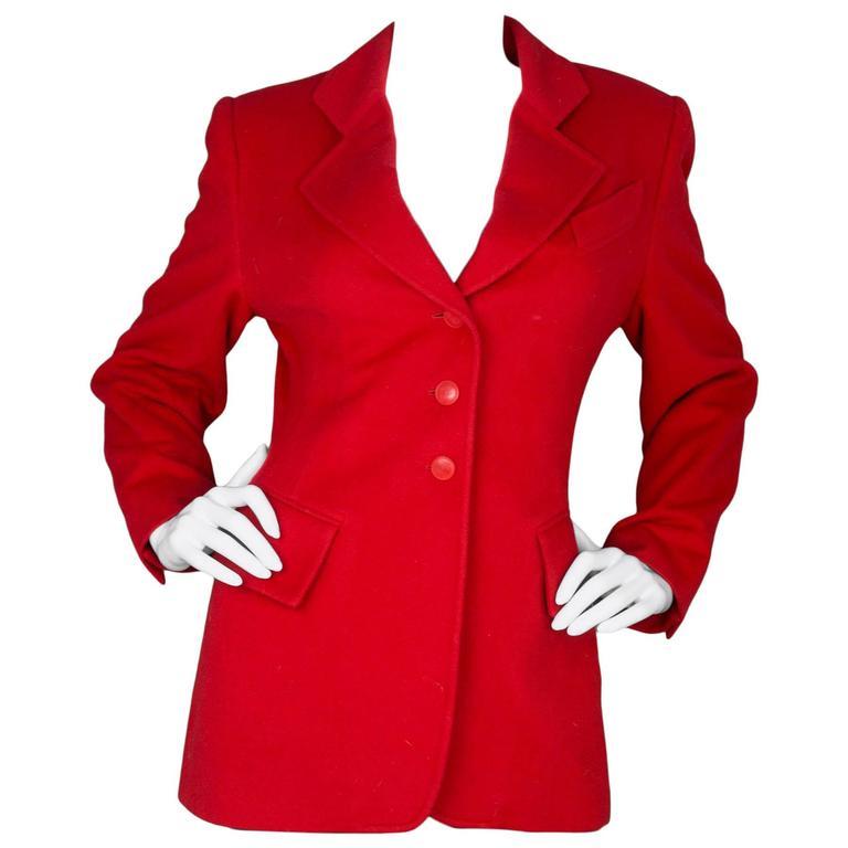 Hermes Red Cashmere Riding Jacket sz FR40 1