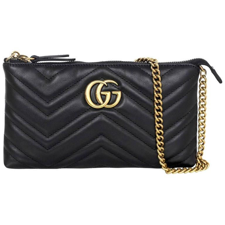 Gucci Black Marmont Mini Matelasse Crossbody Bag For