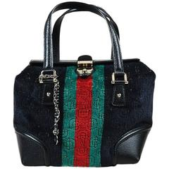 "Gucci Black Multicolor Velvet Leather Horsebit Print ""Treasure"" Boston Bag"