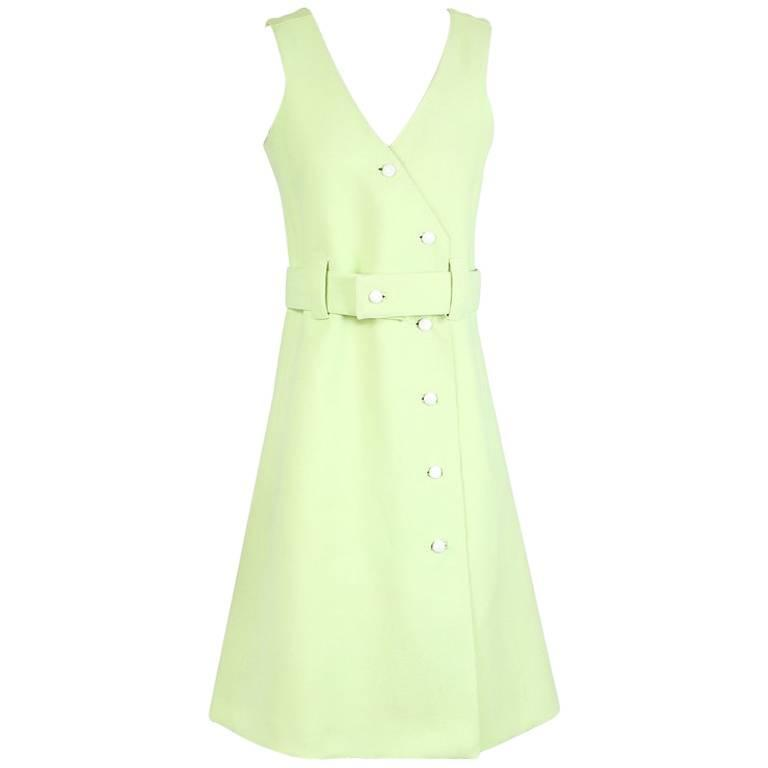 Courreges Bright Green Wool Shift Dress circa 1960s 1