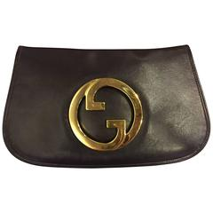 1970's Gucci Espresso Leather Logo Clutch