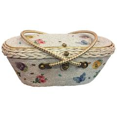 1950's Beaded & Wicker Floral Basket Novelty Bag