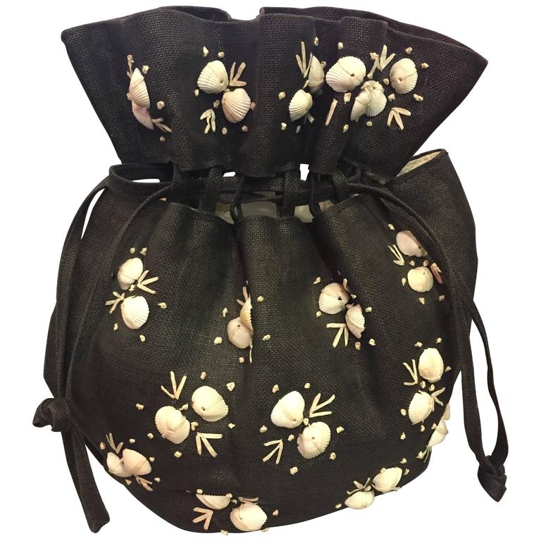 1950's Black Straw Pouch Bag with White Seashells  For Sale
