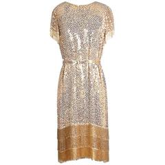 Norman Norell Sequin and Fringe Shift Dress circa 1960s