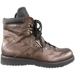 Men's PRADA Size 13 Brown Leather & Black Nylon Hiking Boots