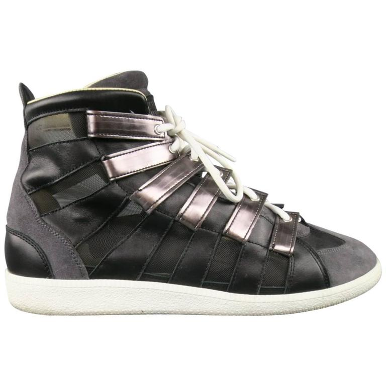 Men's MAISON MARTIN MARGIELA Size 12 Black & Grey Mesh Stripe High Top Sneakers