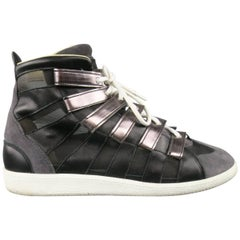 MAISON MARTIN MARGIELA Sneaker US12 Black, Grey Mesh Stripe High Top Trainers
