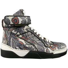 GIVENCHY Size 10 Grey Paisley Butterfly Print Leather Tyson High Top Sneaker