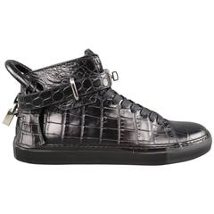 Men's BUSCEMI Size 8 Black Aligator Embossed Leather 100mm High Top Sneakers