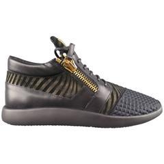 Men's GIUSEPPE ZANOTTI Size 12 Black & Gold Textured Runner Sneakers
