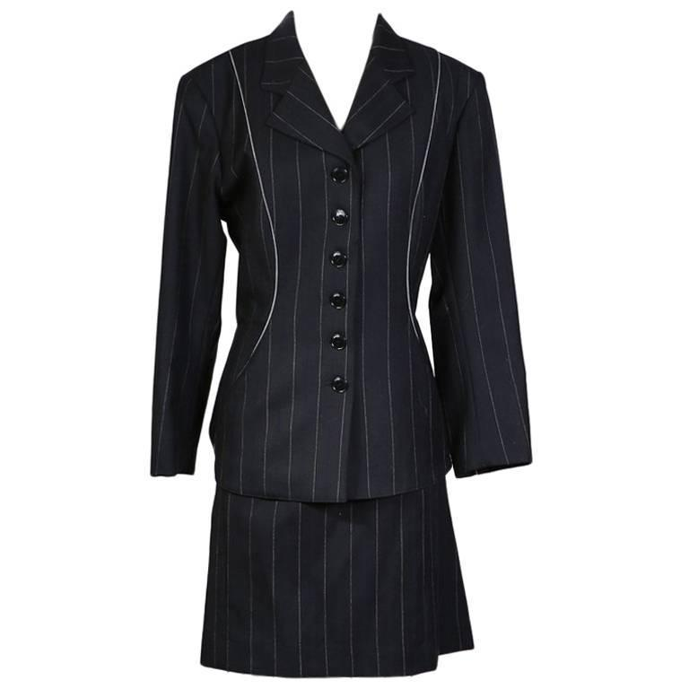 Alaia Pin Stripe Skirt Suit with Back Details circa 1990s/2000s