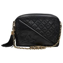 1990s Chanel Black Quilted Lambskin Vintage Camera Bag