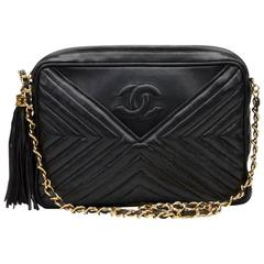 1980s Chanel Black Chevron Quilted Lambskin Vintage Camera Bag