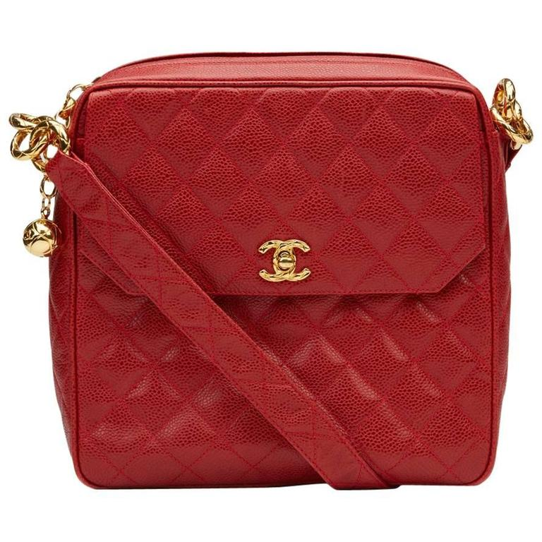 1990s Chanel Red Quilted Caviar Leather Vintage Timeless Shoulder Bag