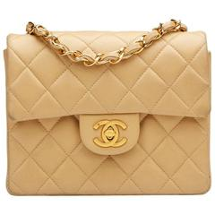 1990s Chanel Beige Quilted Lambskin Vintage Mini Flap Bag