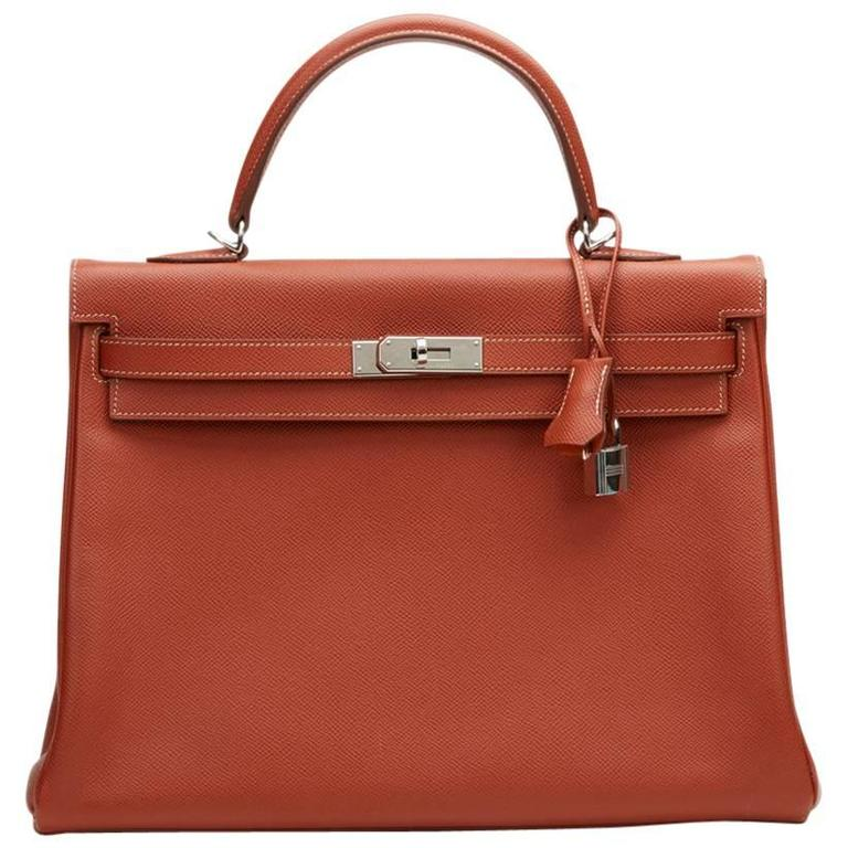 2012 Hermes Brique Epsom Leather Kelly Retourne 35cm 1