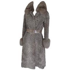 christian dior champagne persian lamb fox fur coat