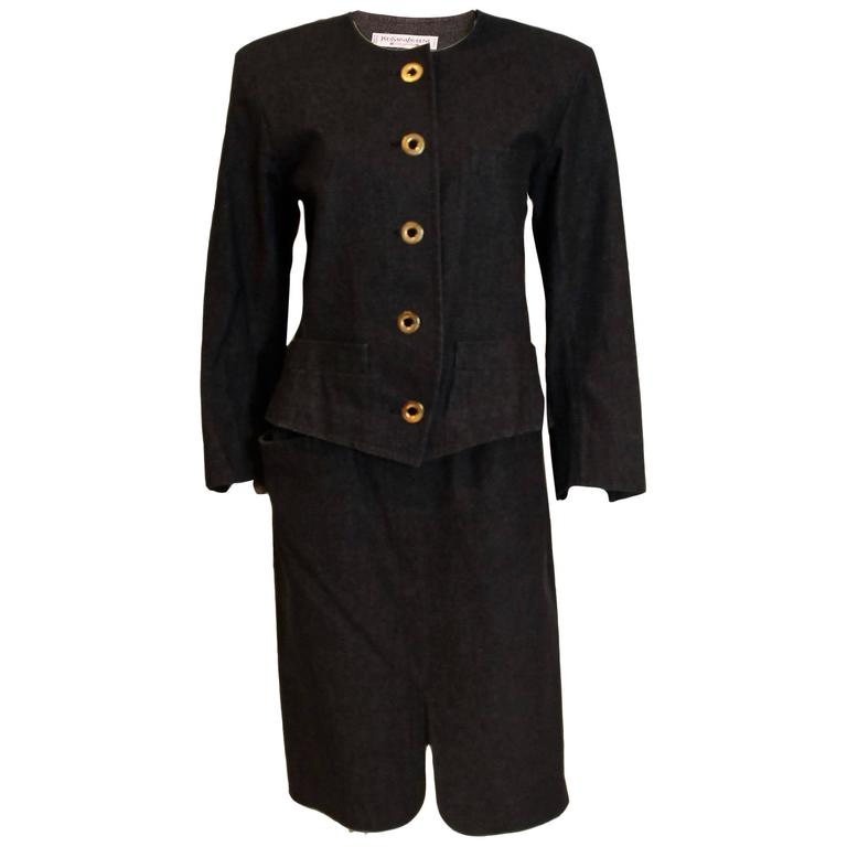 Yves Saint Laurent Rive Gauche Black Denim Skirt Suit