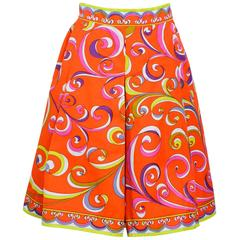 1960s Vintage Signed Emilio Pucci Cotton Skirt