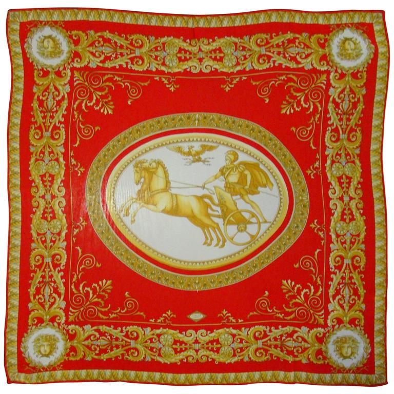 Atelier Versace Medusa Print Red Silk Scarf For Sale
