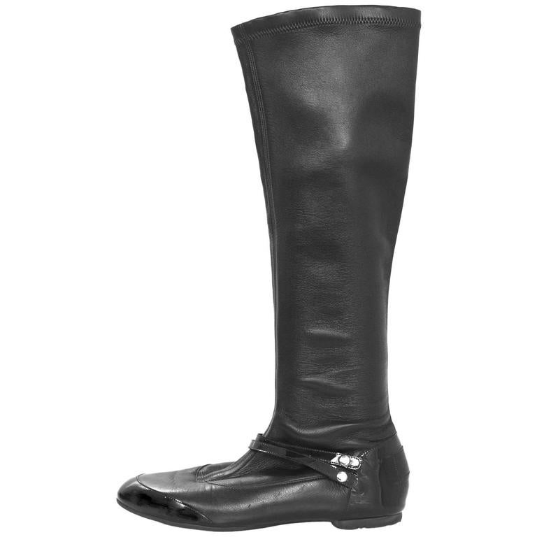 chanel black leather stretch boots sz 36 for sale at 1stdibs