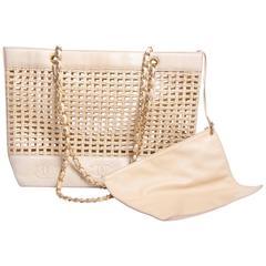 Chanel Basket Tote Shoulder Bag Vintage - straw & beige leather 1996