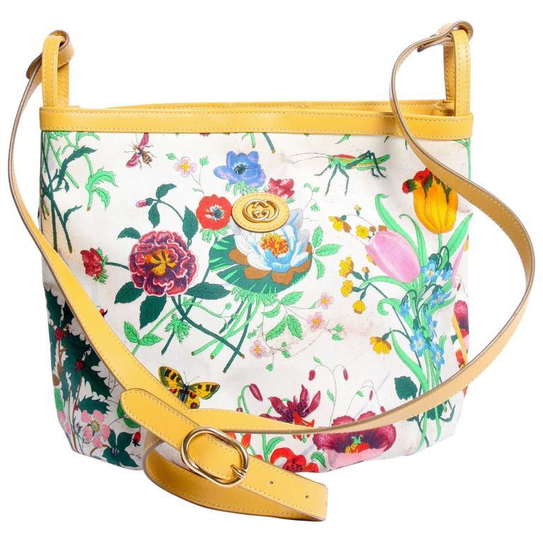 Gucci Floral Print Crossbody Bag Vintage - Yellow At 1stdibs