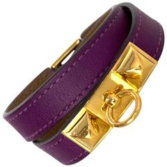 Hermes Purple Rivale Double Tour Bracelet Sz S