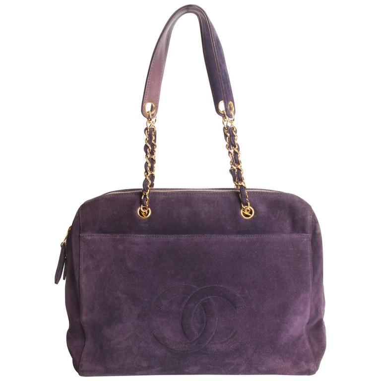Chanel Shopping Tote Bag - purple suede 1