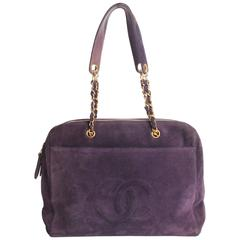 Chanel Shopping Tote Bag - purple suede