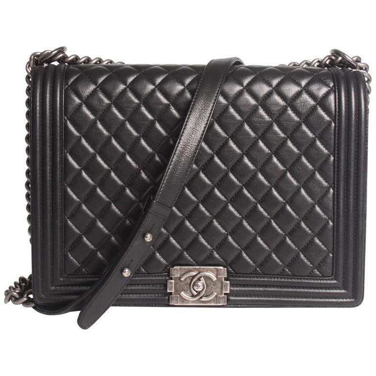 Chanel Boy Bag Large Black Leather For
