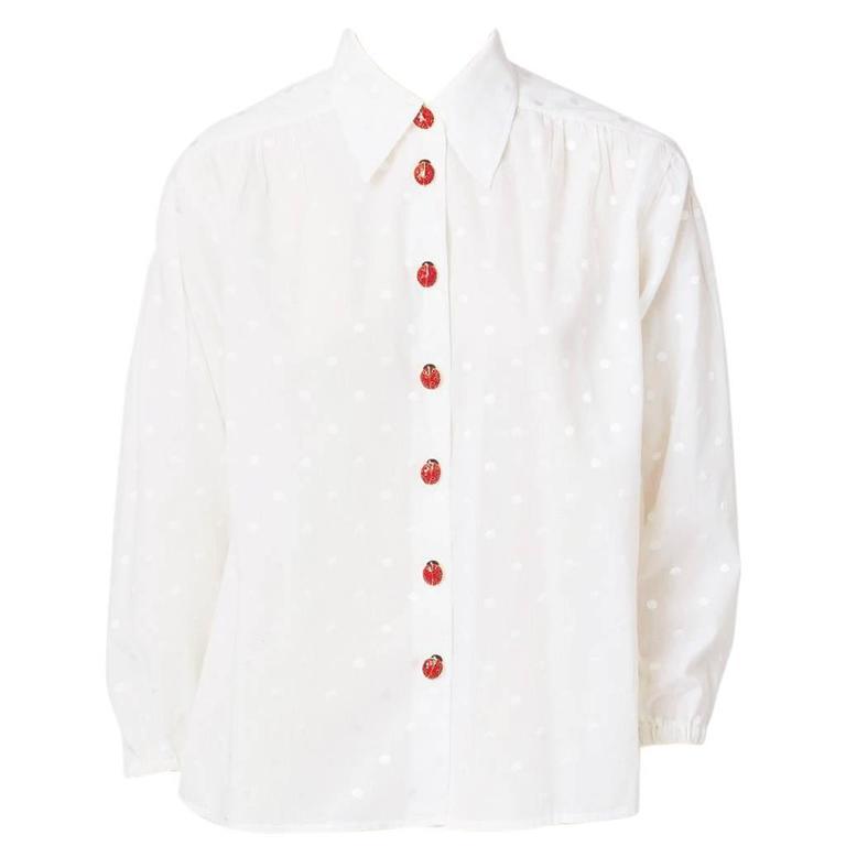 Yves saint laurent white shirt with ladybug buttons at 1stdibs for Yves saint laurent white t shirt