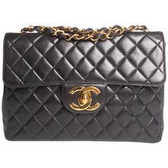 Chanel 2.55 Timeless Jumbo Flap Bag - black leather 1997