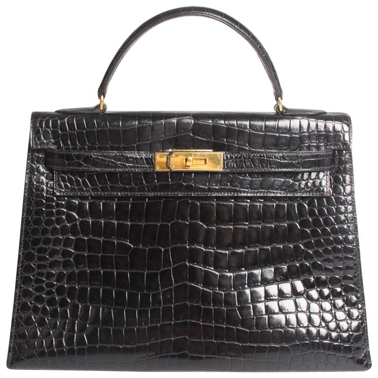 Hermes Kelly 32 Crocodile Leather Bag - black-collector's item and very very rar