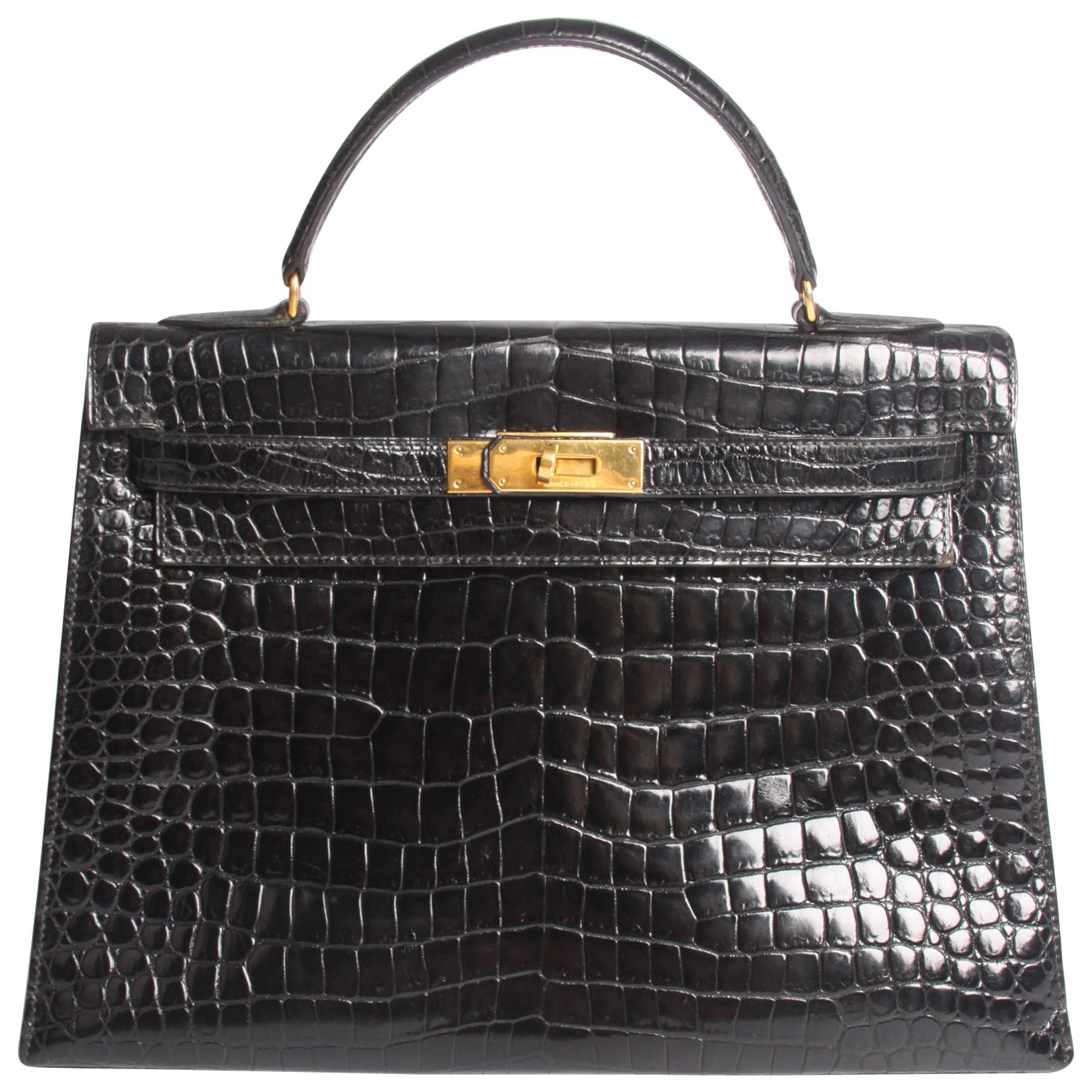 4310f01b3f34f Hermes Kelly 32 Crocodile Leather Bag - black-collector s item and very  very rar at 1stdibs
