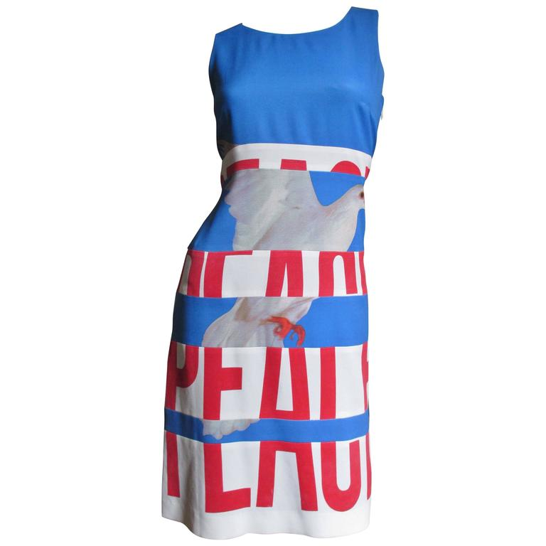 1990s Iconic Moschino ' PEACE ' Front ' STOP WAR ' Back Dress