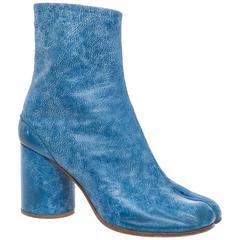 Maison Martin Margiela Blue Leather Tabi Boots