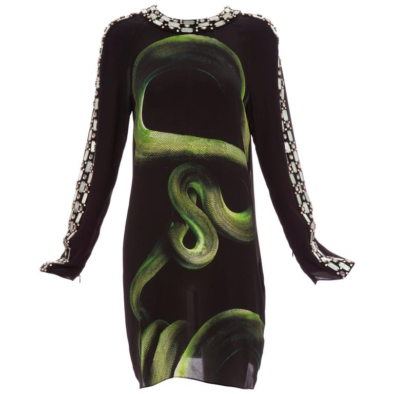 Alber Elbaz For Lanvin Black Silk Python Print Shift Dress, Spring 2012