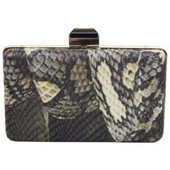 Alber Elbaz Lanvin Black Patent Leather And Reptile Foldover Flap Clutch With Dust Bag 41402 caLCMnV